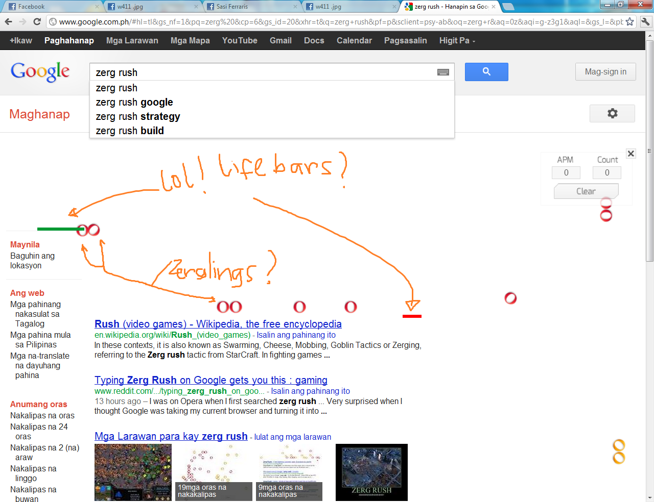 Zerg rush - The Gamer Joke Is Similar To An Earlier Google Easter Egg Entering Do A Barrel Roll As A Google Search Prompted Computer Screens To Do A 360 Degree