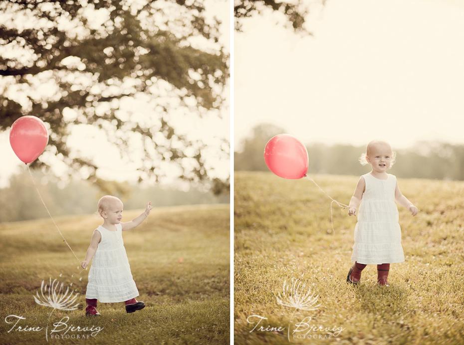 Lykkelig jente med rød ballong, babyfotograf Trine Bjervig