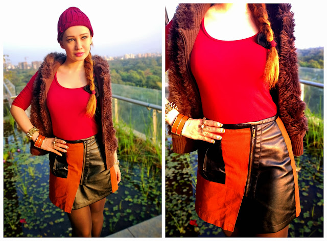Oxblood Top, Faux Fur Vest, Sammy Dress Faux Leather Skirt, Michael Kors Bag