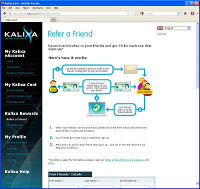 Kalixa refer a friend screen