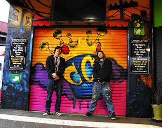 Crown coffee shop hobart tasmania australia hand painted grafitti mural stu dobell signs
