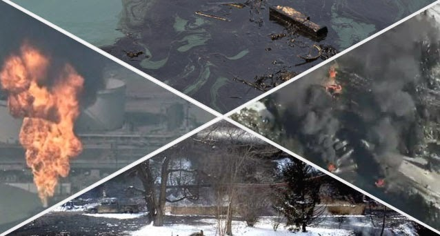 Clockwise from top: A stock image of an oil spill; a CTV screenshot of Saturday's derailment in Ontario; the aftermath of Monday's derailment in West Virginia; and excessive gas flaring after a refinery explosion in California on Wednesday. (Credit: Graphic by Andrew Breiner/Images from AP, Shutterstock, and CTV screenshot) Click to Enlarge.