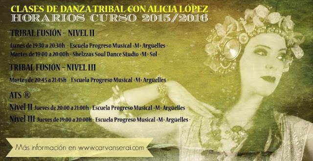 Clases de danza tribal fusion y ATS en Madrid con Alicia López