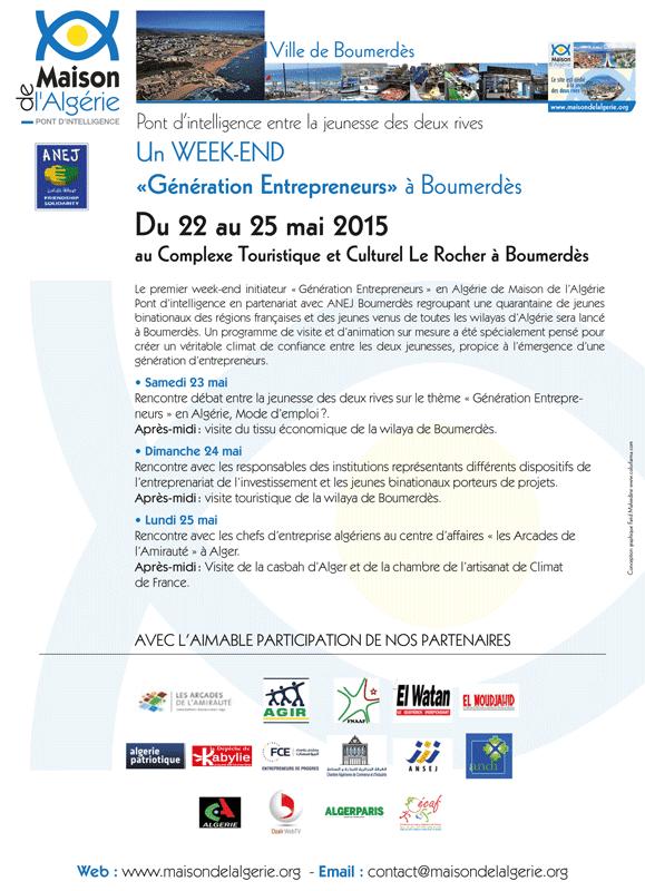 """Premier weekend initiateur """"Génération Entrepreneurs"""" en Algérie"""