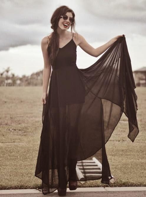 Administrator In Black Suspenders Chiffon Dress