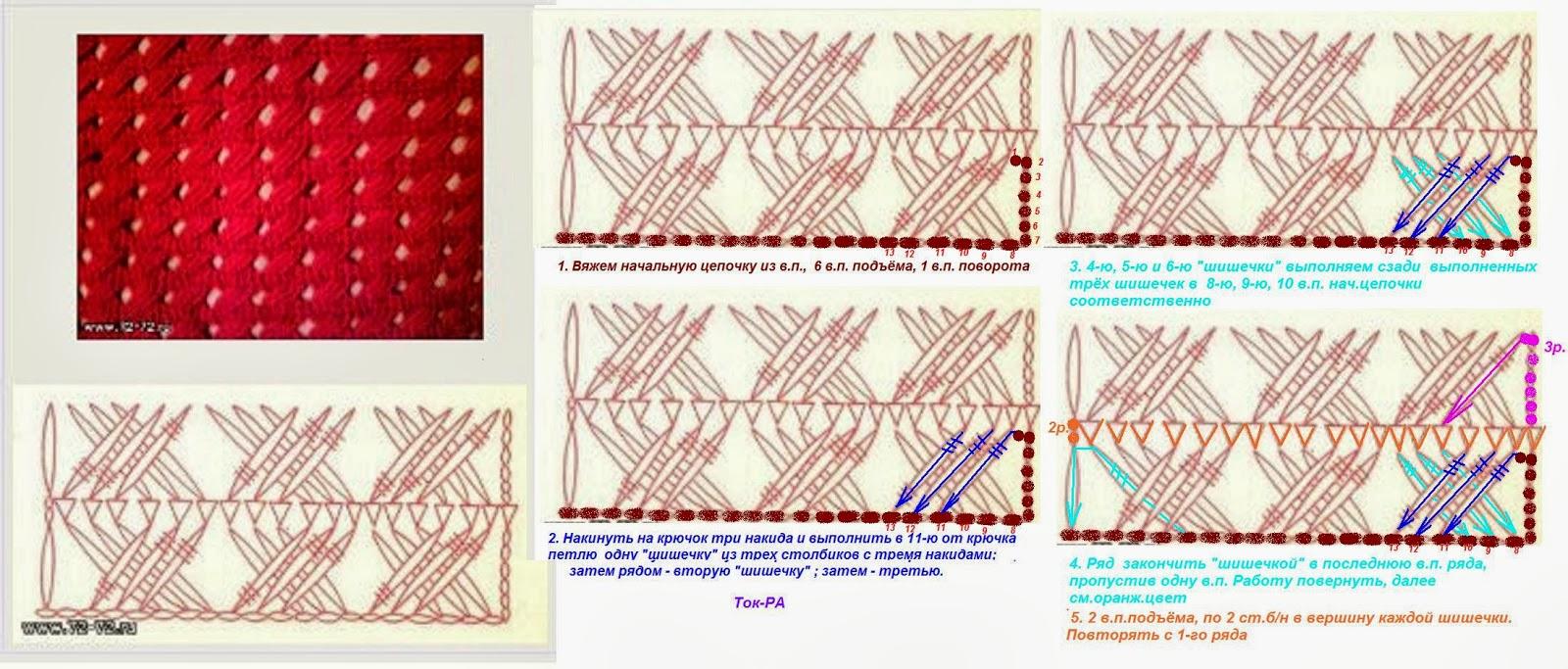 Схема узоров с накидом вязания на спицах