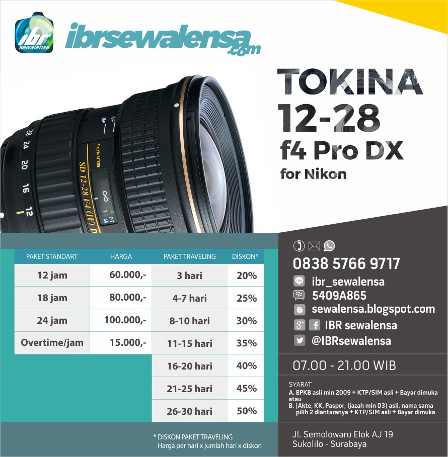 Tokina AF 12-28mm f4 for Nikon Harga Sewa Rental Lensa Kamera