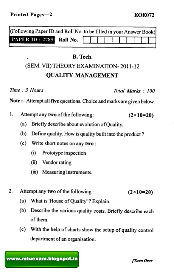 final exam quality management Total quality management - ii online course  certificate will have your name,  photograph and the score in the final exam with the breakupit will have the logos .