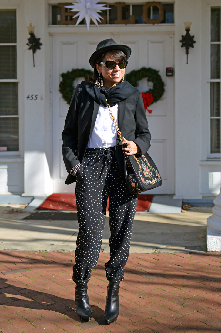Polka Dots Pants Black Oversized Blazer