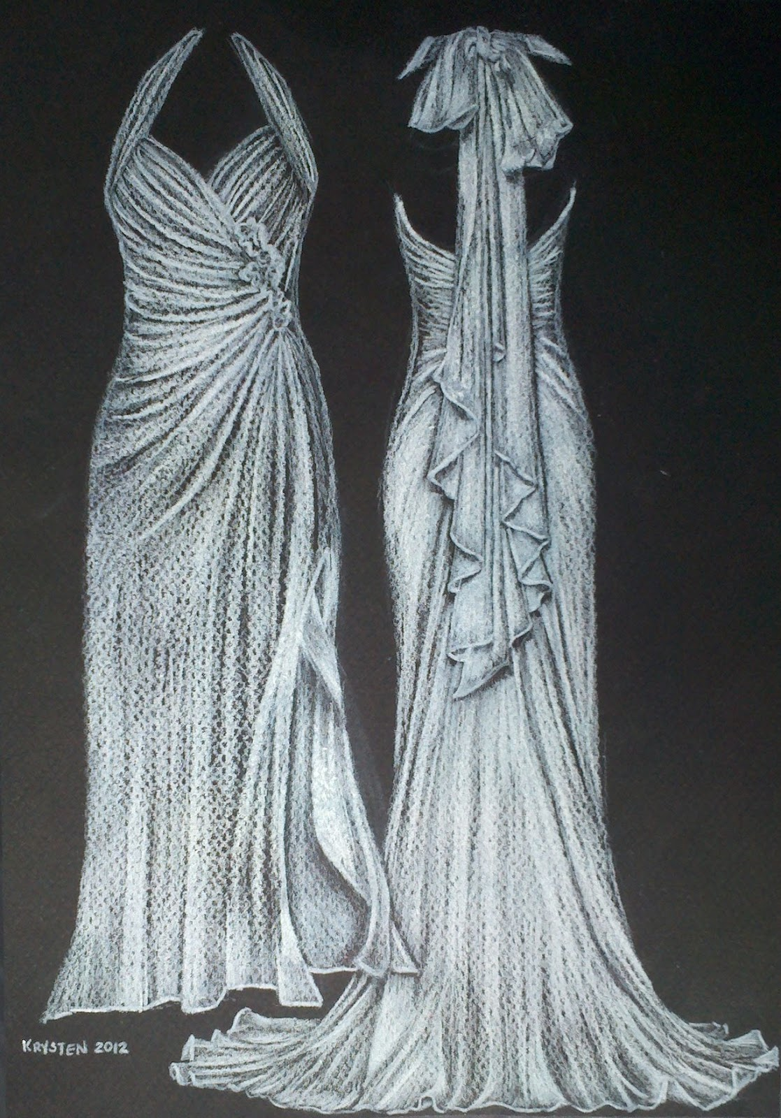 Crazy Daisy Arts: Wedding Gown Drawings