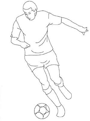 Jugador de Fútbol para colorear ~ 4 Dibujo