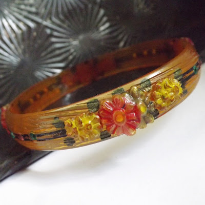 Art Deco apple juice floral celluloid rhinestone bracelet