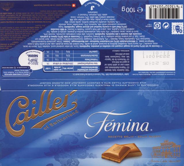 tablette de chocolat lait fourré cailler femina recette selim