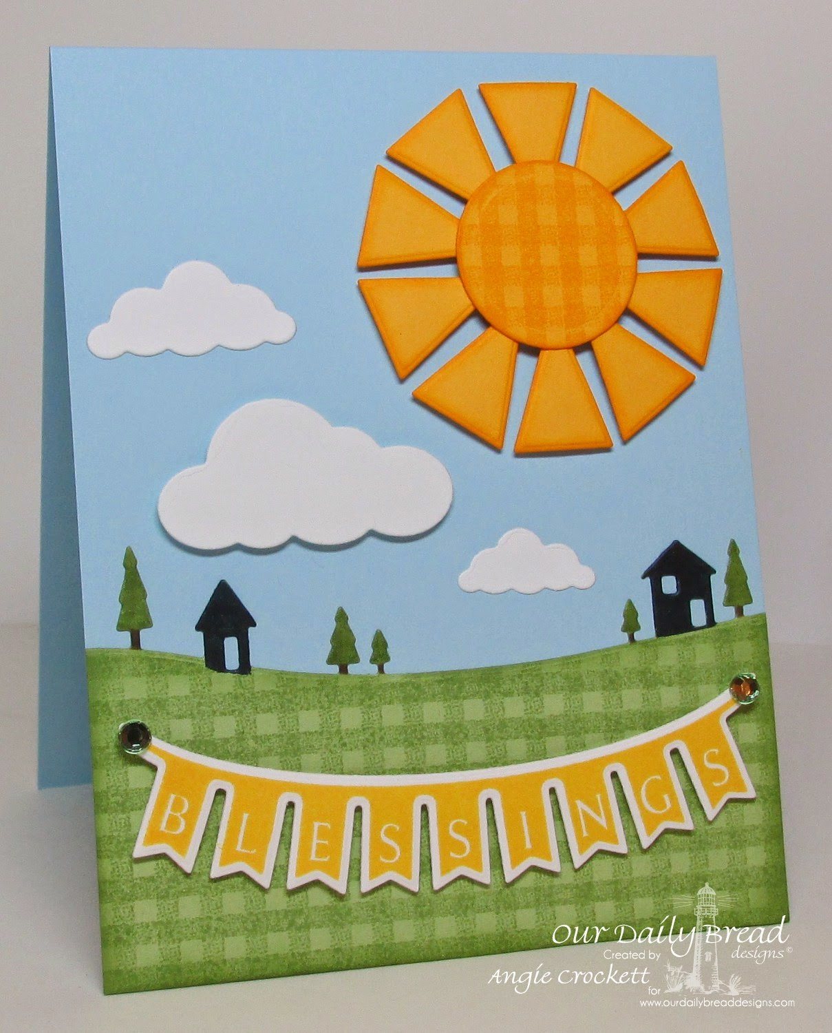 ODBD Gingham Background, ODBD Pennants Die Set, ODBD Pennants Swag Die, ODBD Pennants Swag 1 Stamp Set, Card Designer Angie Crockett