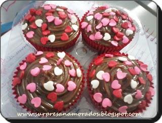 cupcakes com corações para namorado