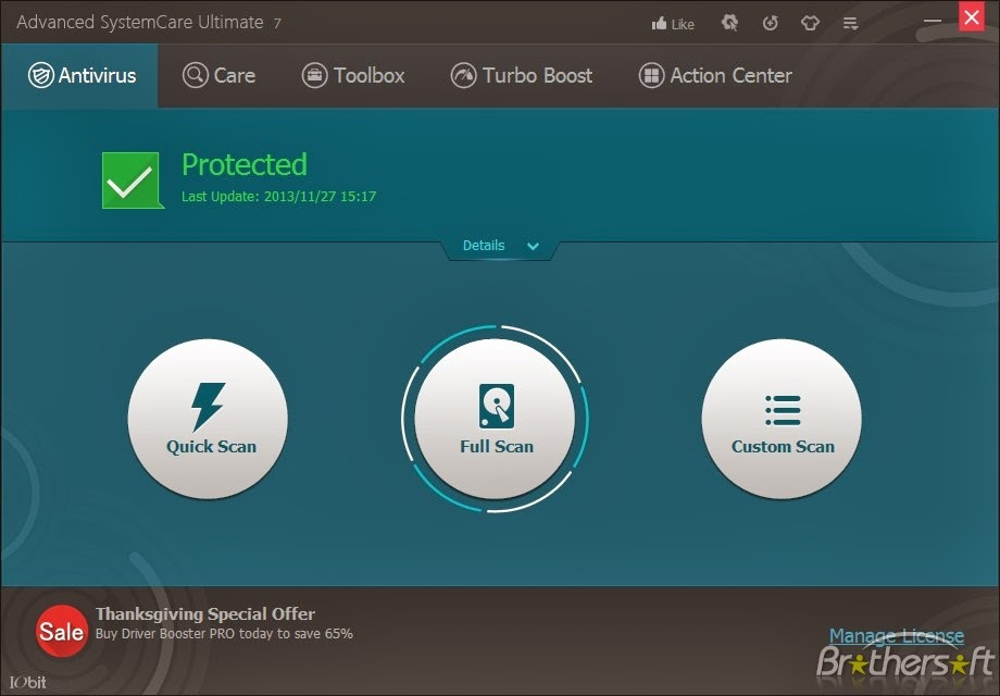 Tampilan Antivirus Advanced SystemCare Ultimate 7