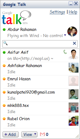 Google Talk Window with Friends