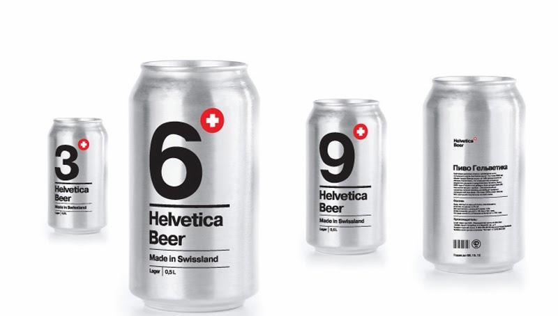 Un maravilloso embalaje de cerveza suiza usando únicamente la popular tipografía Helvetica de Sasha Kischenko