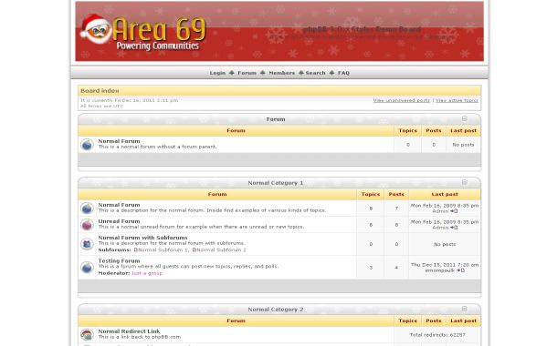Free Fresh Yellow Christmas Phpbb Theme Template
