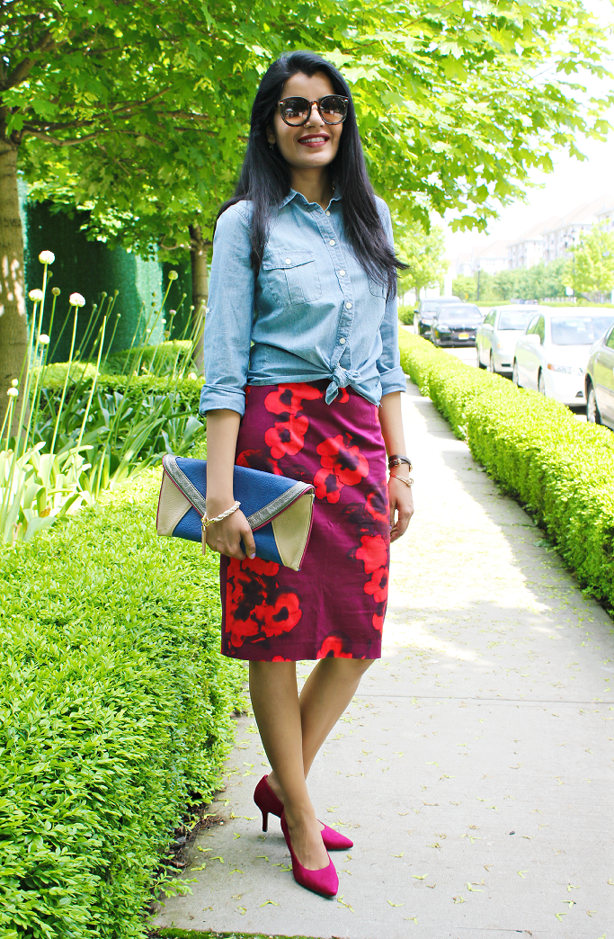 Jcrew Factory Chambray Shirt, Jcrew Chambray, Denim shirt, Jcrew Denim Shirt, Zara floral skirt