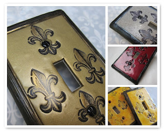 Fleur de lis polymer clay covered light switch covers by Marie Young Creative