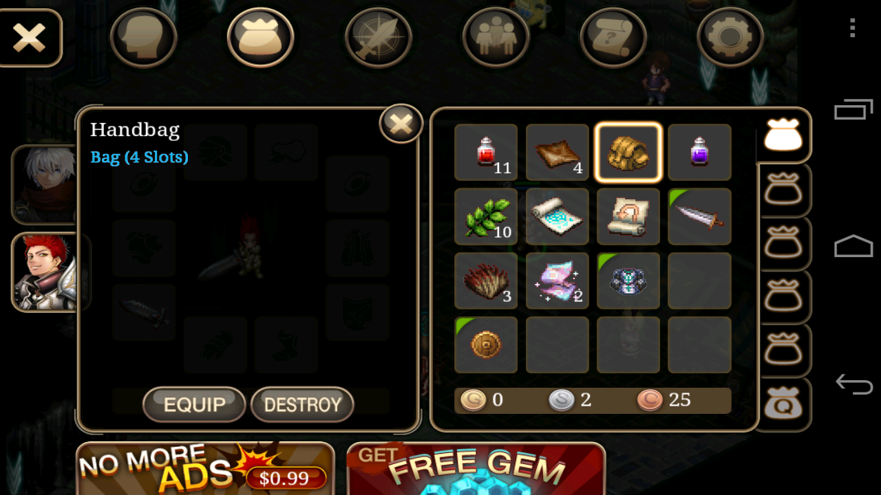 Handbag to expand your items slots, try to get 12 slots instead of 4