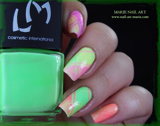 Nail Art Ecossais Pastel Fluo10