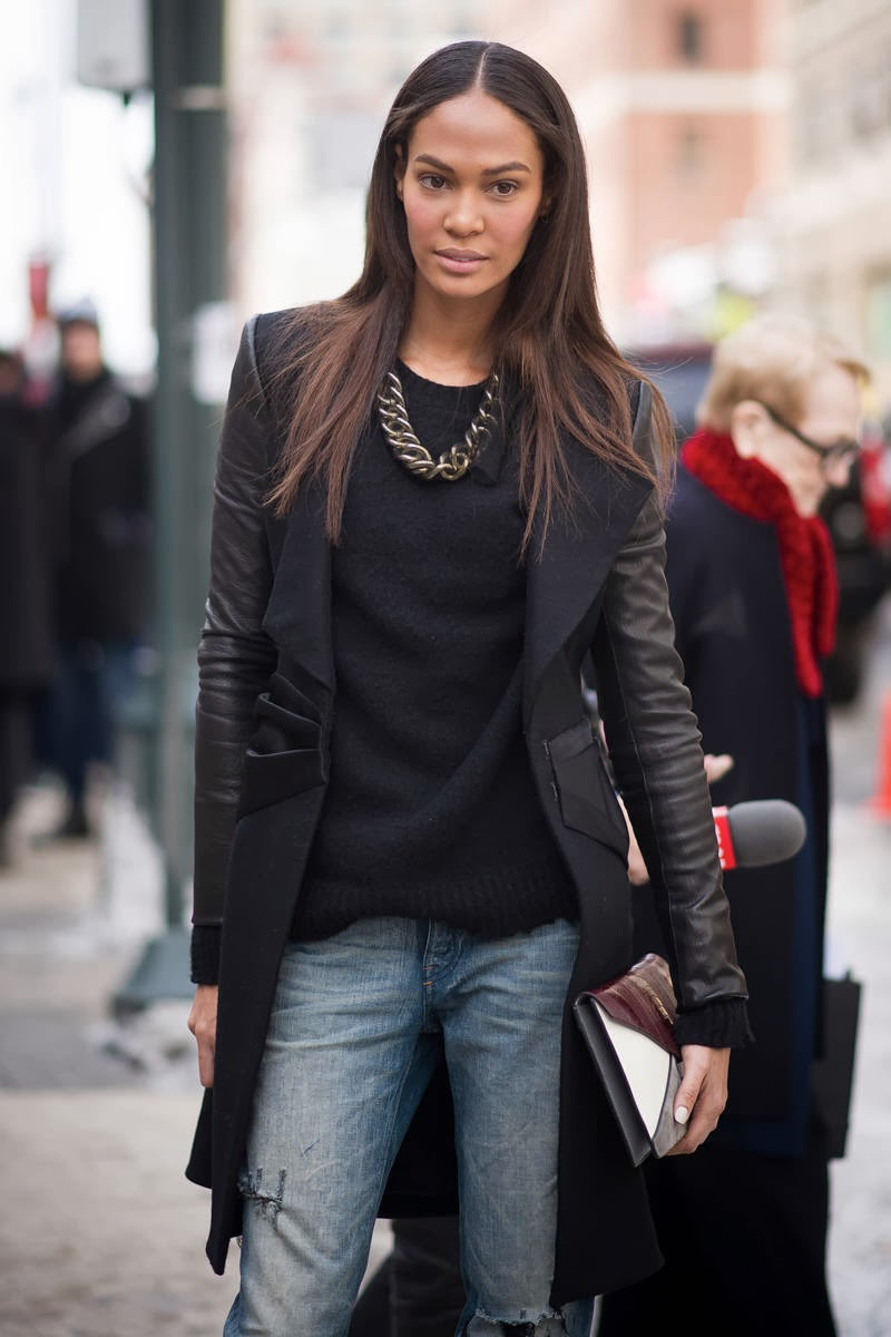 new york fashion week street style 2014 - joan smalls - leather sleeves coat - jeans
