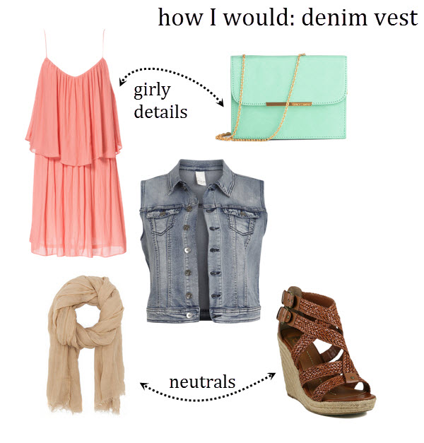 ruffle dress, mint bag, denim vest, neutral wedges, neutral scarf, how to wear a denim vest