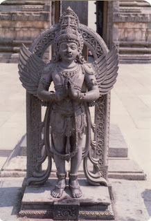 Garuda, the solar bird with golden wings who rules the sky; Deccan stone carving