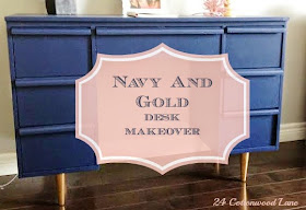 navy and gold desk makeover