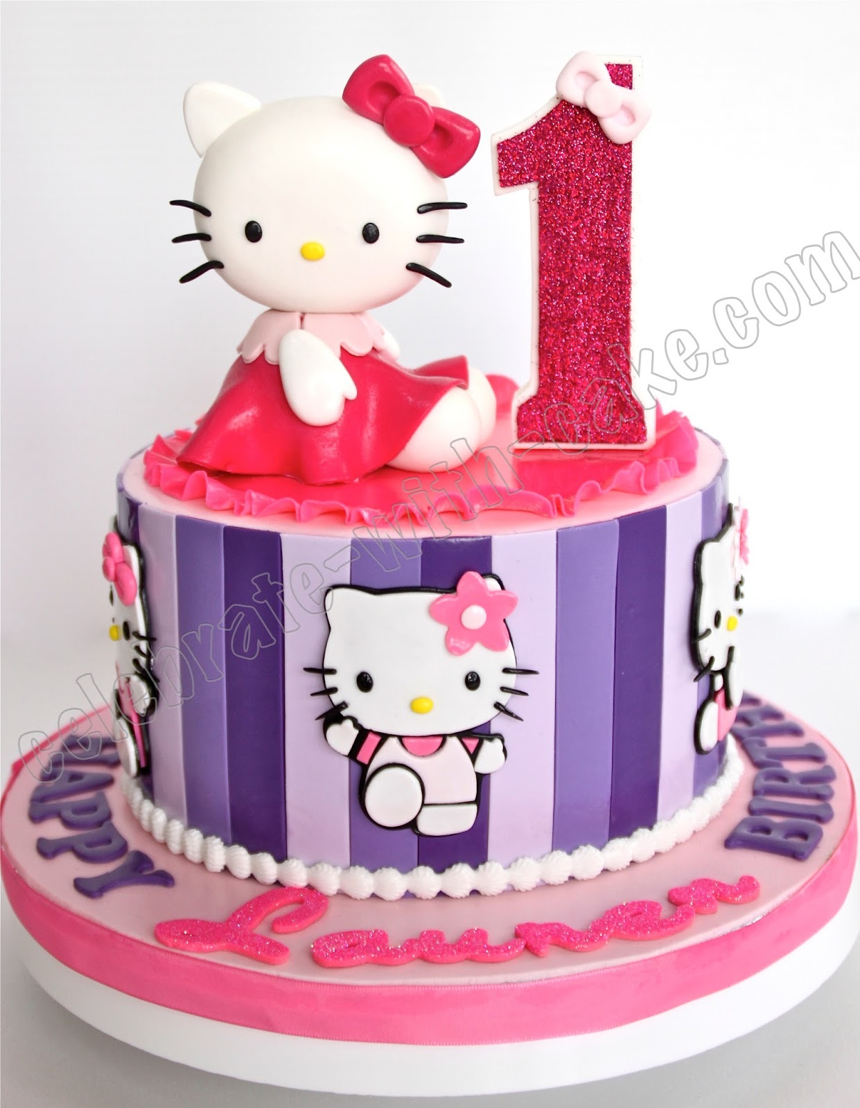 Celebrate With Cake 1st Birthday Hello Kitty Stripes Cake