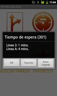 Captura de pantalla InfoBus Malaga
