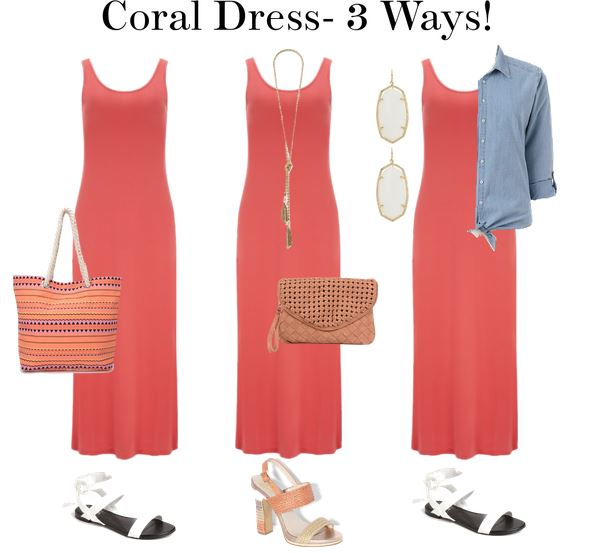 - Sweetie Pie Style: The July Closet, Outfits 10-12: Coral Dress 3 Ways!