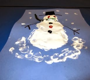 puffy paint craft for kids snowman