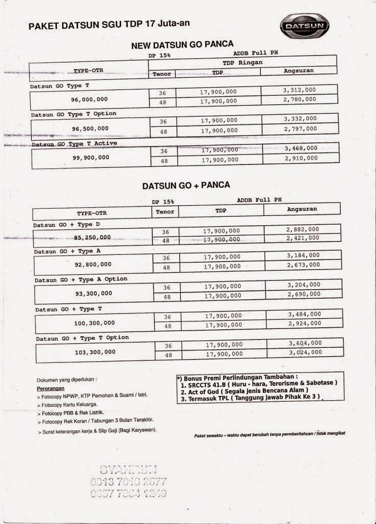 Paket Datsun SGU TDP 17 Jutaan