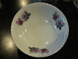 "Mangkuk Lauk Pink/ White Roses Saiz 8"""