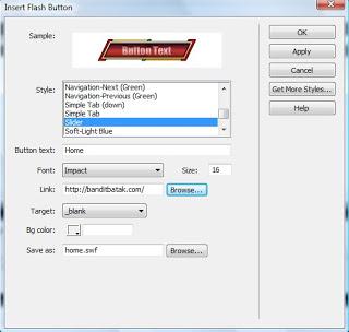 Sample. Menunjukkan preview daritombol flash yang kita pilih.