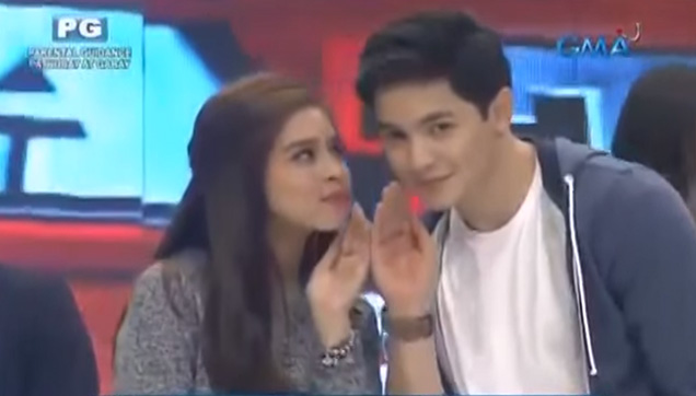 Maine Mendoza and Alden Richards doing the Pabebe Wave post for ATM with the BAEs.