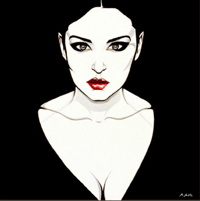 Cuadros Modernos Pinturas : Rostros femeninos Ilustraciones de Montse
