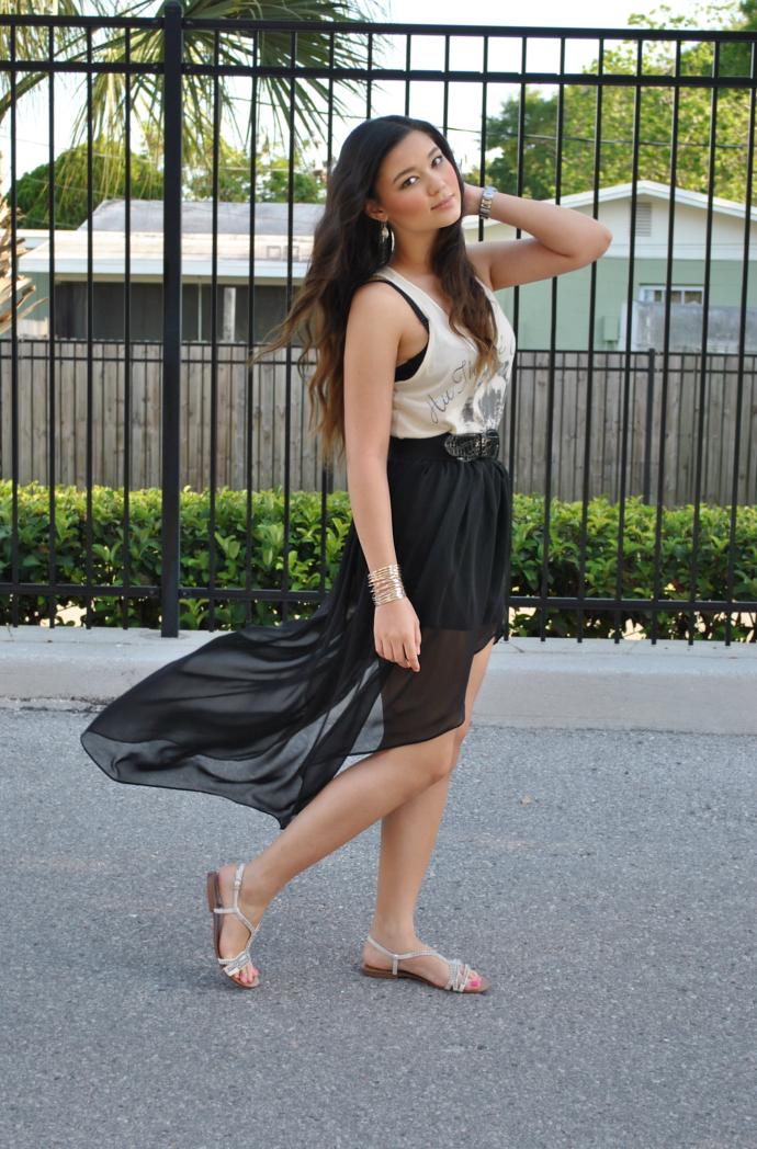 High Low Hem Skirt, High Low Hem, Queen's Wardrobe, Queen's Wardrobe Skirt, Arafeel Top, Tank Top