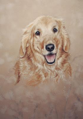 golden retriever portrait painting update by pet portrait artist Colette Theriault