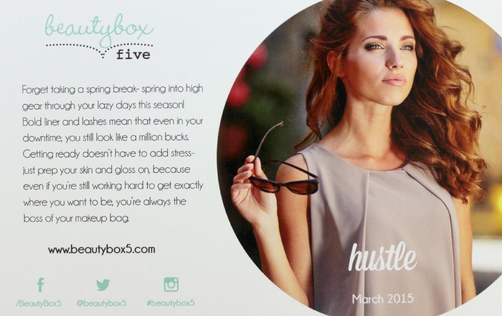 Beauty Box 5 March 2015: Hustle info card