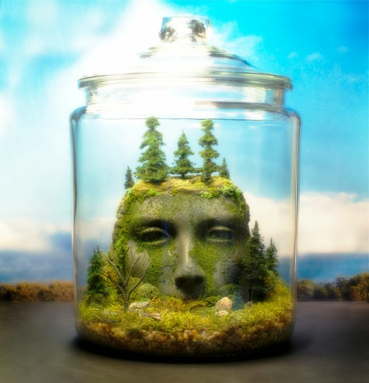 Ancient Goddess Ruins unique Terrarium Art by Tony Larson
