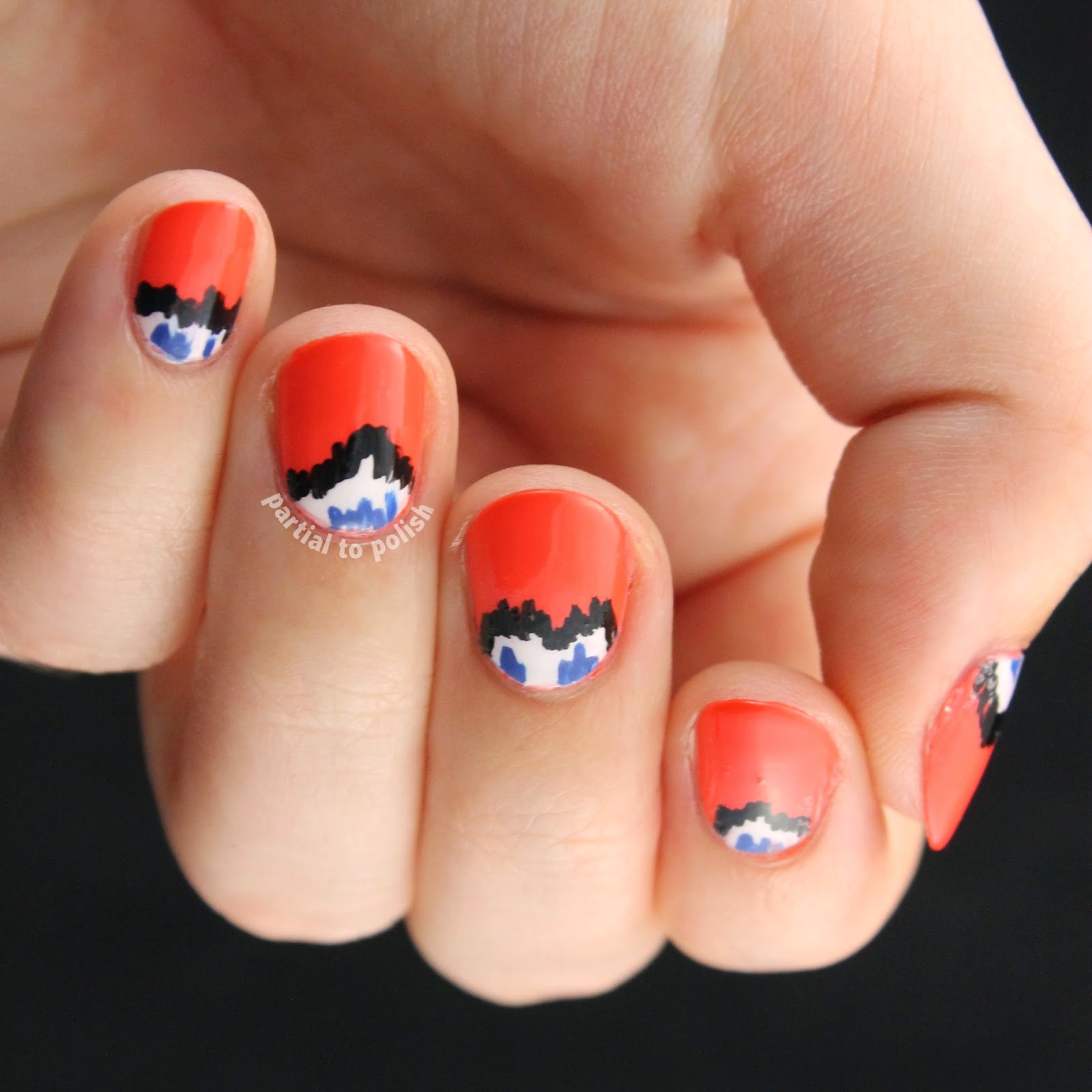 Orange Ikat Half Moon Nail Art featuring OPI Toucan Do It If You Try