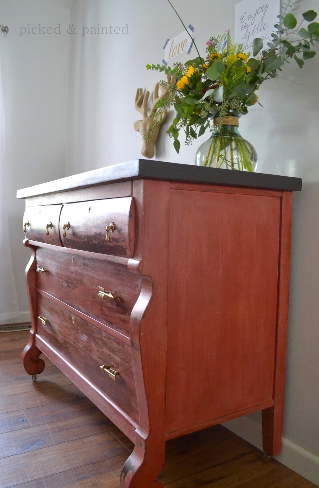 painted red furniture. i used salem red old fashioned milk paint itu0027s a great shade of with orange undertones painted furniture