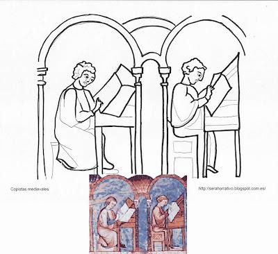 dibujo colorear copistas medievales