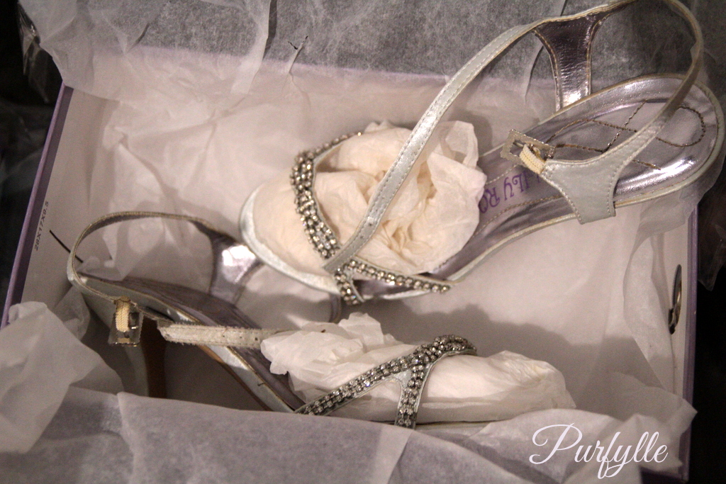 silver and diamonte evening shoes