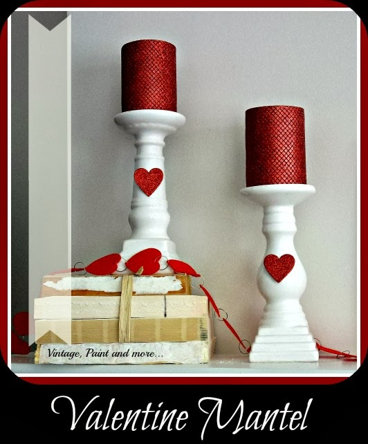 Valentine Mantel - Mantel decorated with thrifted items and covered foam core letters.