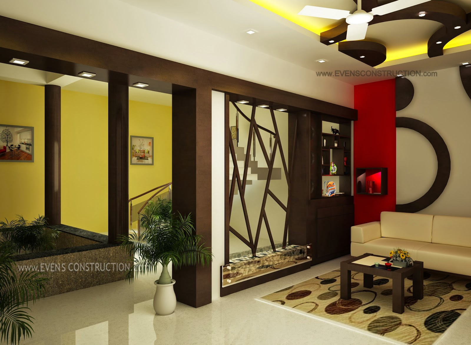 Evens construction pvt ltd january 2015 for Living room dining room partition designs